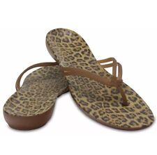 W9 UK 7 EU40 Crocs Isabella Leopard Animal Print Flip Flops Brand New Fast Post