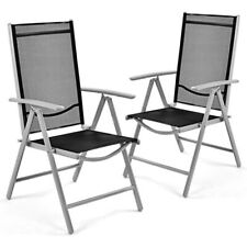 Fast Furnishings Set of 2 Folding Outdoor Patio Chairs with Black Mesh Seat a...
