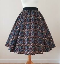 1950s Circle Skirt Skulls & Feathers - All Sizes - Halloween Rockabilly Gothic