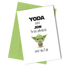 #269 YODA BEST SON Greeting Comedy Rude Funny Humour  Birthday Card Star Wars