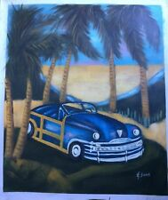 "Classic Car Palm Tree ART OIL PAINTING 20x24"""
