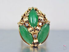 Ming'S Hawaii Large 3 Stone Green Jade And Diamond Ring. Floral Size 6 Mings 14k