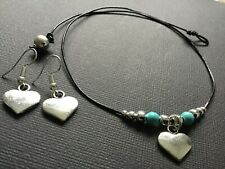 BLACK Real Leather Choker Necklace With Love Heart Turquoise And FREE EARRINGS
