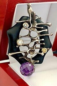 Sterling Silver & 14K Gold Natural Diamond 3.20CT Amethyst Black Onyx Pendant