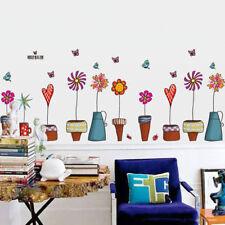 DIY Cartoon Flower Butterfly Wall Stickers Decal Window Glass Wall Home Decor