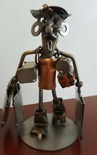 Metal Sculpture Art Recycled Handcrafted Woman Bags Figure Rustic