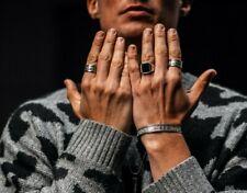 Neu Zeus Edelstahl Ring mit Onyx Stein Damen Herren Silber Massive Biker Männer