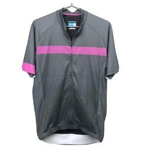 Shimano Mens Cycling Jersey Bike Shirt L Full Zip Short Sleeve 4 Pockets Gray