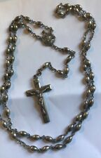 Vintage  Antique Rosary Beads All Sterling Silver Jesus Crucifix Necklace