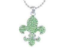 Fashion Necklace Green Rhinestone Fleur De Lis Peridot Silver Chain Pendant New