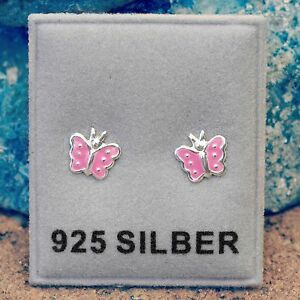 Neu 925 Silber OHRSTECKER mit SCHMETTERLINGEN in rosa SCHMETTERLING Ohrringe