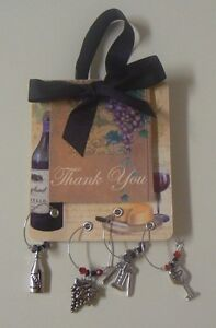 Ganz THANK YOU Gift  Wine Charm Set of 4 NEW Grapes Bottle Glass Cork Screw