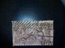Stamp, Great Britain, Scott #179, used(o), 1919, Britannia and Sea Horses, 2/6