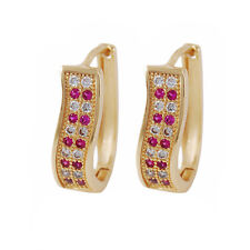 Yazilind 18K Gold Plated Cubic Zirconia Inlay Oval Hoop Huggies Earrings Women