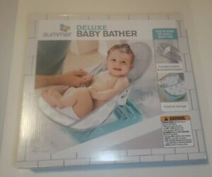 Summer Infant Deluxe Baby Bather Dashed Dots Gray/Aqua ~ Brand New In Box