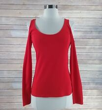 NEW Guess Knit Top S small red orange open cold shoulder shirt casual sexy