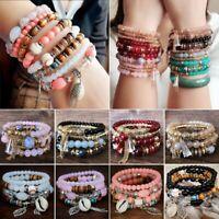 Charm Women Boho Multi-layer Beads Bohemia Crystal Shell Bracelets Summer Style