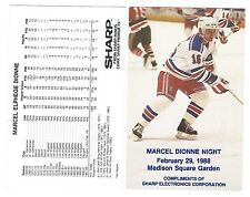 1988 Marcel Dionne Night Souvenir Card NY Rangers Sponsored by Sharp Electronics