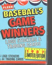 1987 Fleer Limited Edition Baseball Game Winners Unopened Complete Trading Card