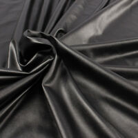 High Stretch Elastic Black Faux Leather PU fabric material for clothes by yard