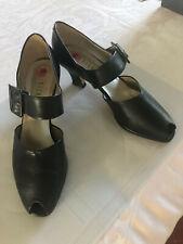 Black Vintage Nickels Peep Toe Buckle Shoes 10 Made In Italy