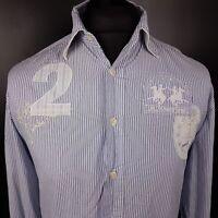 LA MARTINA Mens Vintage Shirt POLO XL Long Sleeve Blue Regular Striped Cotton