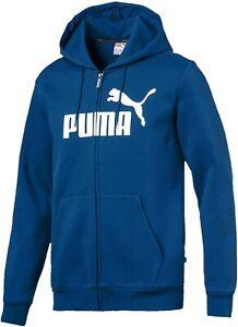 Puma Essentials Logo Mens Fleece Hoody Blue Full Zip Gym Training Workout Hoodie