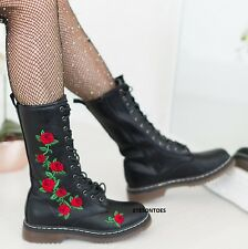 LADIES WOMENS BLACK ROSE GOTH PUNK LACE UP CHUNKY ANKLE COMBAT MID CALF BOOTS SZ