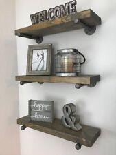 "8"" Deep (set of 3) Industrial Floating Shelves, Farmhouse, Rustic Shelves"