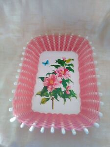 Norleans Made in Greece White and Pink Floral Basket Weave Plastic Floral Dish