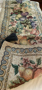 """Manual Unforgettable Tapestry Table Runner Fruits & Florals Tassels 72"""" x 13"""""""