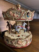 Spieluhr Pferde Karussell  mit Engel ca. 36 cm Barock Drehkarussell 6 Pferde