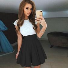 Damen Mädchen Swing Rock Mini hohe Taille Falten-Rock Gummibund Skirt Minirock