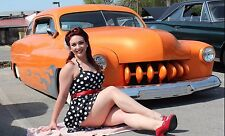 "RED HAIR GIRL & CLASSIC CAR Poster 19""x 13"""