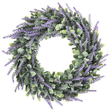 Door Wreath Artificial Lavender Flower Lush Topiary Home Wall Art Hanging Decor