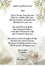 Wedding Day Thank You Gift, Father Of The Groom from Bride Poem A5 Photo