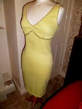 Versace Jeans Couture Yellow Dress with Gold Stud Rhinestone Size 8-10, 28/42