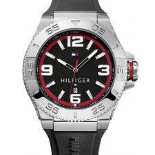 New Tommy Hilfiger Black Rubber Band Date Men oversize Watch 55mm 1791034 $115