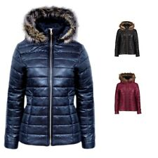 Womens Ladies Shiny Wet Look Puffer Quilted Fur Hooded Bubble Jacket Coat Top