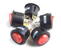 5 PCS 12 Volt Round 3 Prong Red LED Rocker Switch Car SPST Toggle Switch 12V