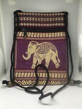 Burgundy Black and Gold Elephant Fabric 5 x 7 Inch Purse Brocade Ultra Boho
