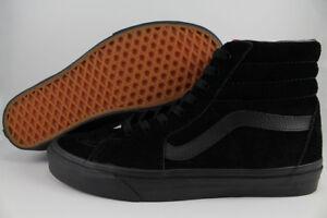 VANS SK8-HI HIGH TRIPLE BLACK/BLACK BLACKOUT ALL SUEDE CLASSIC SKATE US MEN SIZE