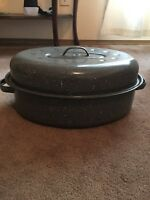 "Vintage Enamel Graniteware Speckle Turkey Roaster 16""x12"" Grey USA Thanksgiving"