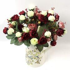 21Head 1 Bouquet Artificial Rose SILK Flower Leaf Home Wedding Party Decoration