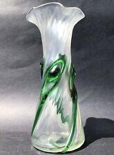Art Nouveau Satin/Iridescent Glass Vase Spiral Peacock Jugendstil Stuart & Sons