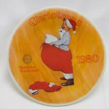 "Knowles-Norman Rockwell-Christmas-1980-& #034;Scotty Plays Santa"" Nle plate-Usa-New!"