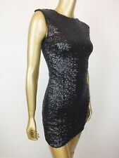 BARDOT SEQUIN MINI DRESS OPEN BACK BLACK  DRESS  36 4 XS 8