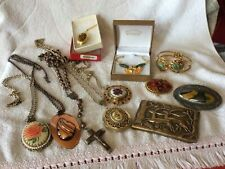 Job Lot Of Vintage Mixed Costume Jewellery Inc Belt Buckle All Good Condition