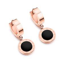 Roman Numerals Rose Gold Stainless Steel Ear Studs Women's Black Enamel Earrings