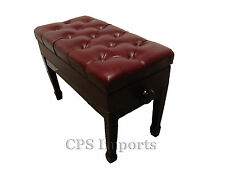 Duet GENUINE LEATHER Mahogany Adjust. Piano Bench/Stool/Chair